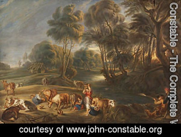 John Constable - Landscape with milkmaids and huntsmen