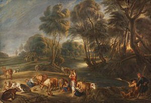 Landscape with milkmaids and huntsmen