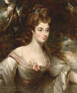 Portrait of Elizabeth, Lady Croft, half-length, in a white dress with a pink sash, in a wooded landscape