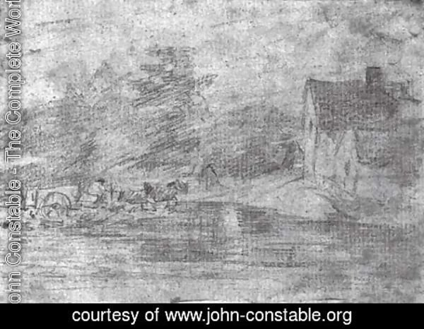 John Constable - Willy Lots' Cottage, near Flatford Mill, with a horse drawn cart