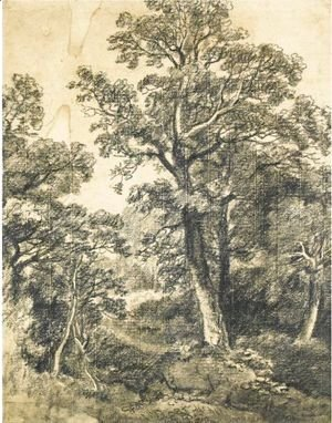 John Constable - A Wooded Landscape, East Bergholt