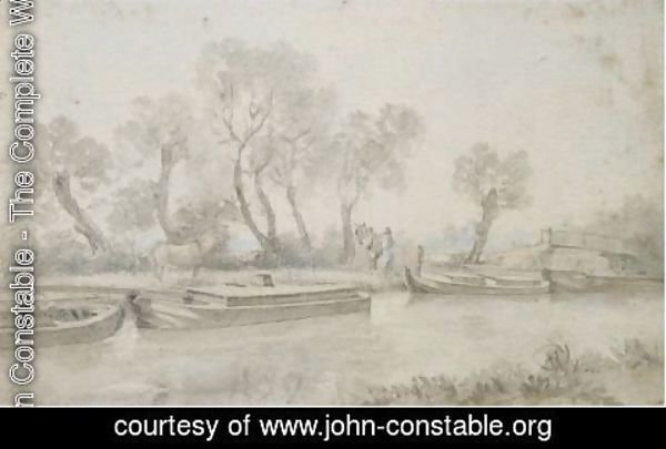 John Constable - Barges On The River Stour At Flatford, Suffolk