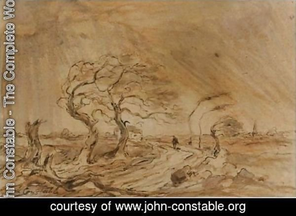 John Constable - Traveller In A Gale In A Landscape