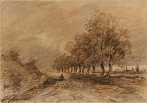 John Constable - Landscape With A Shepherd And His Flock