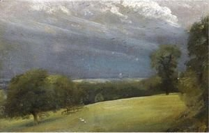 John Constable - View Across The Lawn At West Lodge, Stratford St Mary, Near East Bergholt