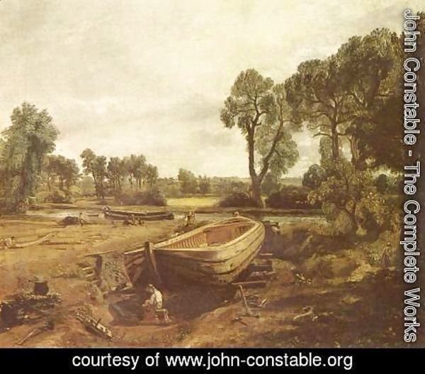John Constable - Boat building in Flatford