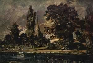 Salisbury Cathedral seen from the river, with the house of Archdeacon Fisher, sketch