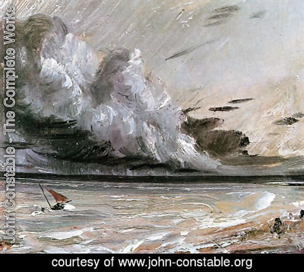 John Constable - Coast scene with breaking cloud Sun