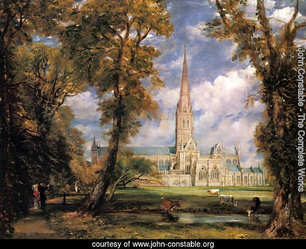 Salisbury Cathedral from the Bishop's Grounds c. 1825