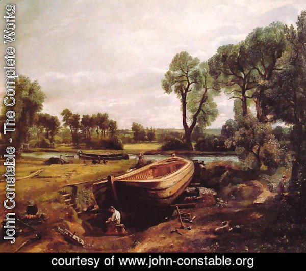 John Constable - Boat-Building on the Stour 1814-15