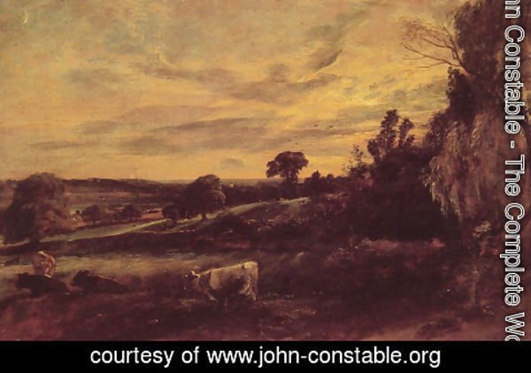 John Constable - Landscape Evening