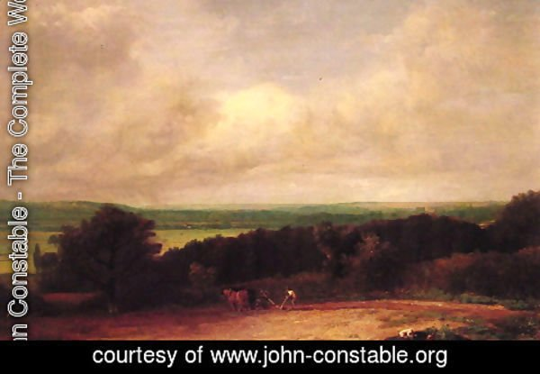 John Constable - Landscape Ploughing Scene In Suffolk