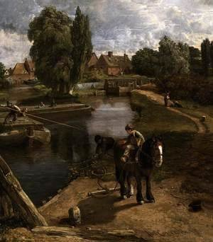 John Constable - Flatford Mill (detail) 1817