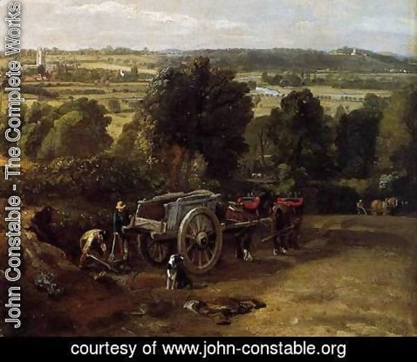 John Constable - The Stour-Valley with the Church of Dedham (detail) 1814